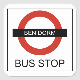 Benidorm Bus Stop Square Sticker