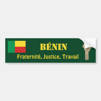 Benin Flag + Map Bumper Sticker
