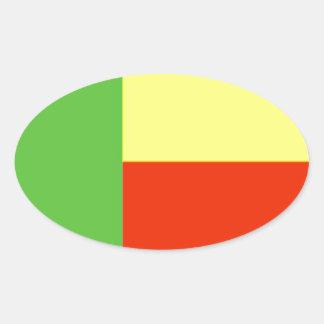 Benin flag oval sticker