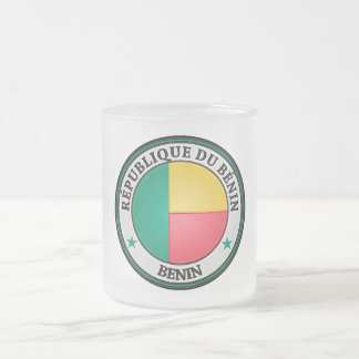 Benin  Round Emblem Frosted Glass Coffee Mug