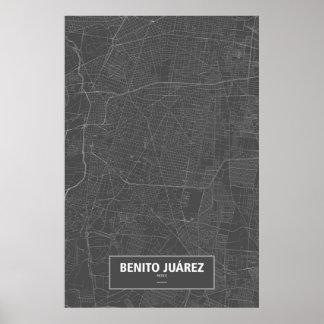 Benito Juárez, Mexico (white on black) Poster