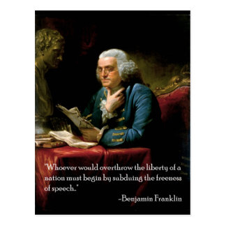 Benjamin_Franklin_1767 quote on speech Postcard