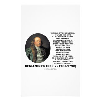 Benjamin Franklin Conversion Of Water Into Wine Stationery Paper