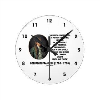 Benjamin Franklin Death Taxes Quote Clocks