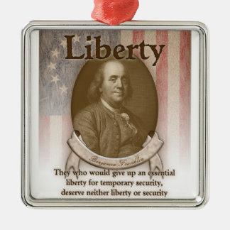 Benjamin Franklin – Liberty Silver-Colored Square Ornament