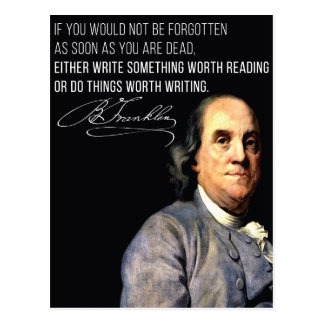 Benjamin Franklin Life advice quote postcard