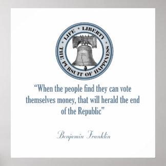 Benjamin Franklin Quote (Money) Poster