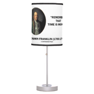Benjamin Franklin Remember Time Is Money Quote Table Lamp