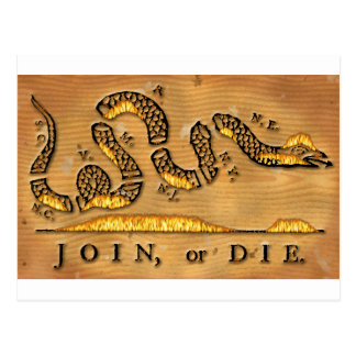 Benjamin Franklin's Join Or Die Political Cartoon Postcard