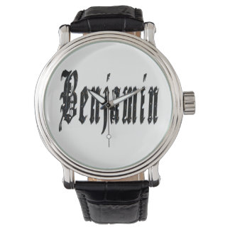 Benjamin, Name, Logo, Big Black Leather Watch