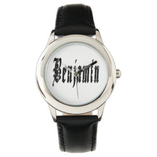 Benjamin, Name, Logo, Boys Black Leather Watch