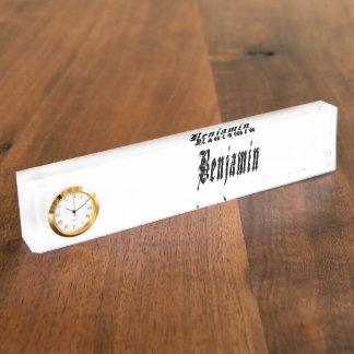Benjamin, Name Logo, Desk Name Plate With Clock.