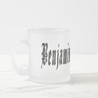 Benjamin, Name, Logo, Frosted Glass Beer Mug. Frosted Glass Coffee Mug