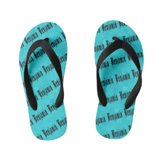 Benjamin, Name Logo, On Aqua Blue Mosaic Kid's Flip Flops