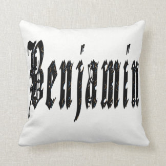 Benjamin, Name, Logo, White Throw Cushion. Throw Pillow