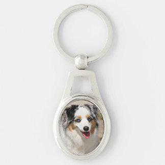 Bennett - Aussie Mini - Rosie - Carmel Beach Silver-Colored Oval Keychain