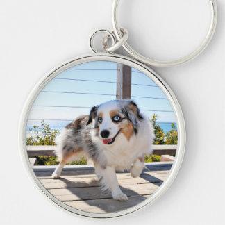 Bennett - Aussie Mini - Rosie - Carmel Beach Silver-Colored Round Keychain