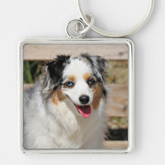 Bennett - Aussie Mini - Rosie - Carmel Beach Silver-Colored Square Keychain