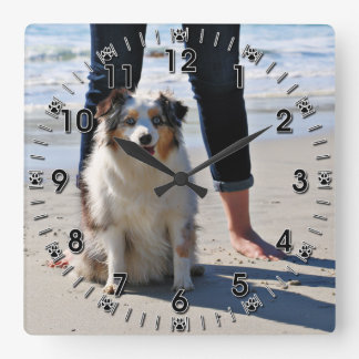 Bennett - Aussie Mini - Rosie - Carmel Beach Square Wall Clock