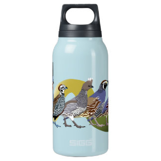 BennuBirdy Quail of North America (no text) Insulated Water Bottle