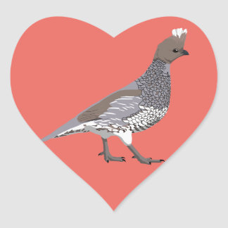 BennuBirdy Scaled Quail Heart Sticker