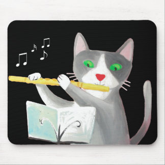 Benny the flute player cat mouse pad