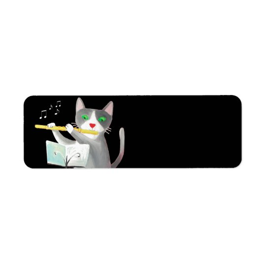 Benny the flute player cat return address label