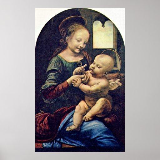 Benois Madonna by Leonardo di ser Piero da Vinci Posters