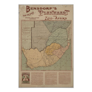 Bensdorp's Dutch Map of South Africa Circa 1900 Poster