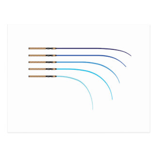 Bent Fishing rod vector curved rod blanks Postcard