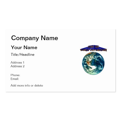 Bent On World Domination Planet Earth Humor Business Cards