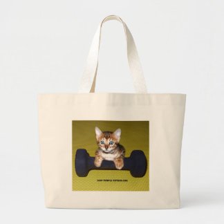 Bental Kitten with Dumbbell Yellow Tote Bag