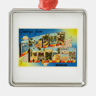 Benton Harbor Michigan MI Vintage Travel Souvenir Silver-Colored Square Ornament