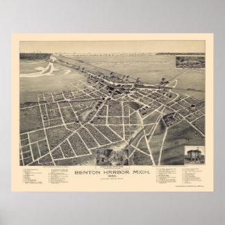 Benton Harbor, Michigan Panoramic Map - 1889 Poster