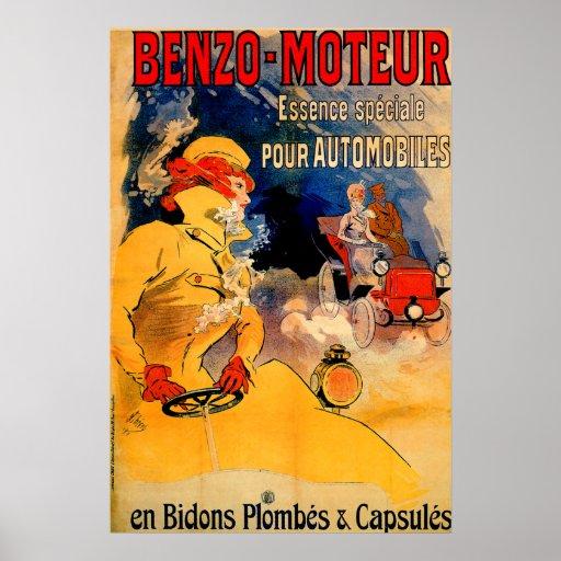 Benzo-Moteur Motor Oil  ~ Vintage Car Ad Poster
