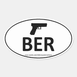 BER BERETTA Gun Pistol Oval Sticker
