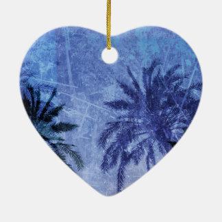 Bercelona Blue Palm tree Grunge Digital Art Design Ceramic Heart Ornament