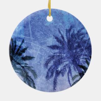 Bercelona Blue Palm tree Grunge Digital Art Design Round Ceramic Ornament