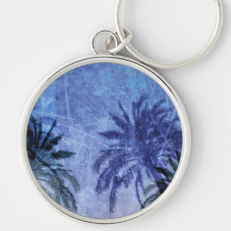 Bercelona Blue Palm tree Grunge Digital Art Design Silver-Colored Round Keychain