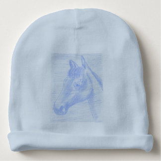 Beret of Cotton drawing blue horse Baby Beanie