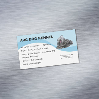 Bergamasco on Blue Swirl Business Card Magnet