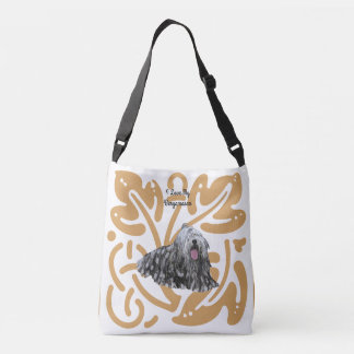 Bergamasco on old gold print crossbody bag