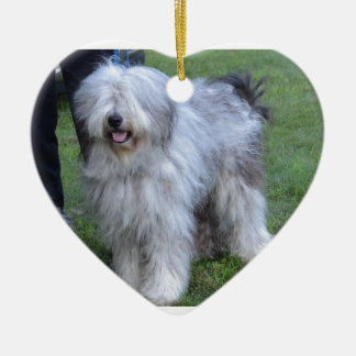 Bergamasco Shepherd Dog Ceramic Heart Ornament