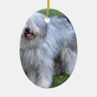 Bergamasco Shepherd Dog Ceramic Oval Ornament