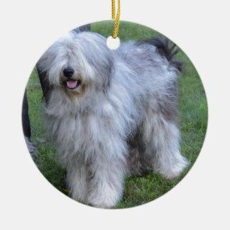 Bergamasco Shepherd Dog Round Ceramic Ornament