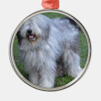 Bergamasco Shepherd Dog Silver-Colored Round Ornament