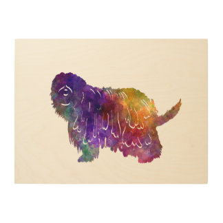 Bergamasco Shepherd in watercolor Wood Canvases