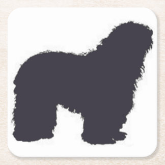 bergamasco_silhouette color square paper coaster