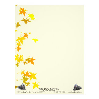 Bergamasco with Autumn Leaves Personalized Letterhead