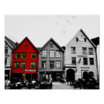 Bergen Norway Black and White photo with red house Poster